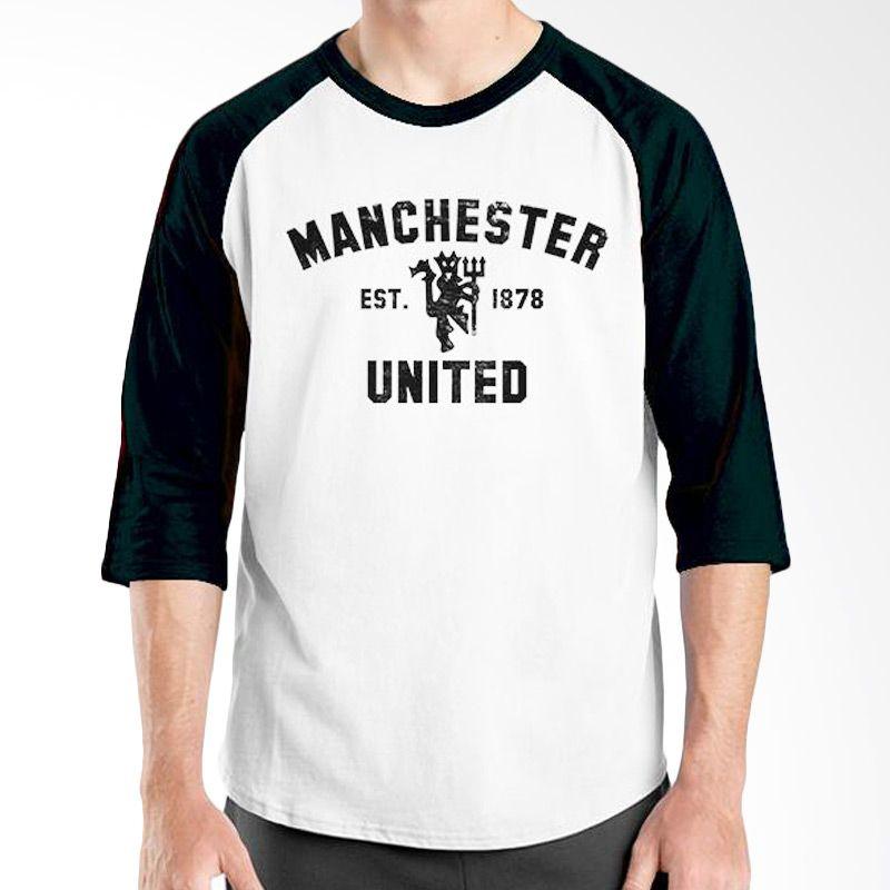 Ordinal Raglan Manchester United Edition 01 Putih Hitam Kaos Pria