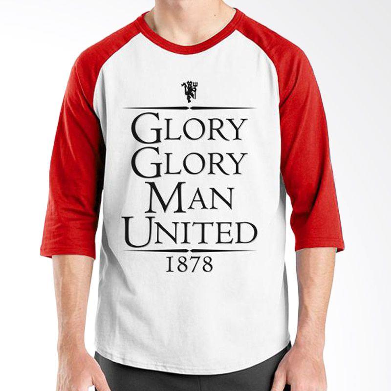 Ordinal Raglan Manchester United Edition 03 Putih Merah Kaos Pria