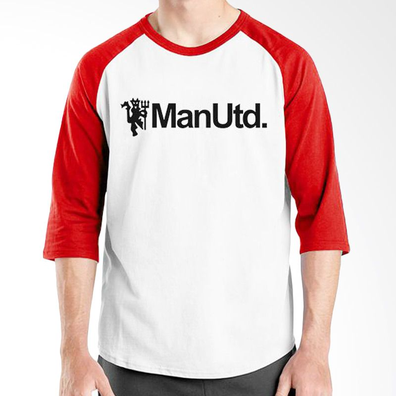 Ordinal Raglan Manchester United Edition 07 Putih Merah Kaos Pria