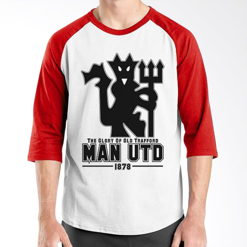 Ordinal Raglan Manchester United Edition 08 Putih Merah Kaos Pria