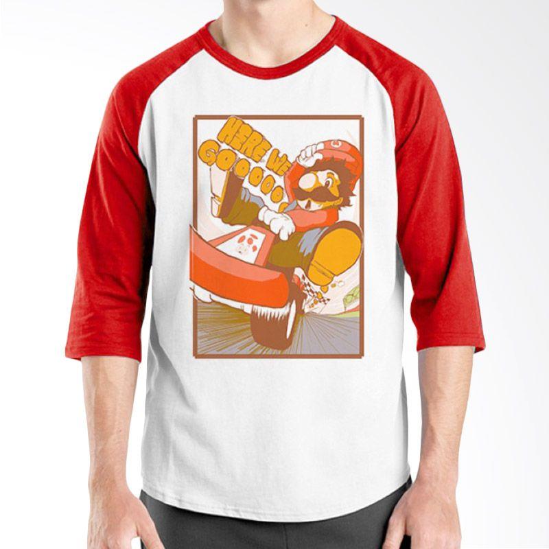 Ordinal Raglan Mario Artworks 04 Putih Merah Kaos Pria