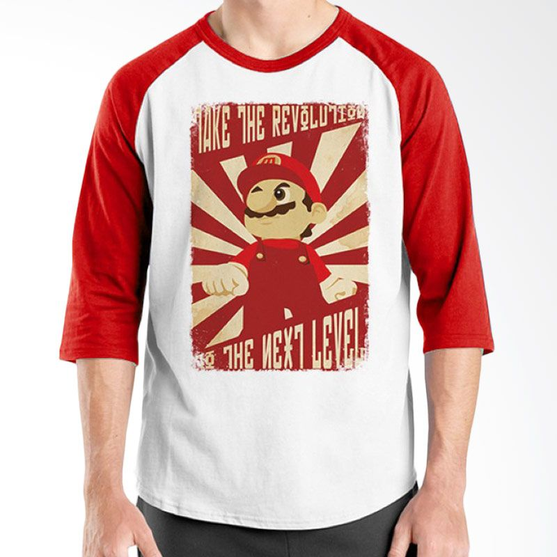 Ordinal Raglan Mario Artworks 07 Putih Merah Kaos Pria