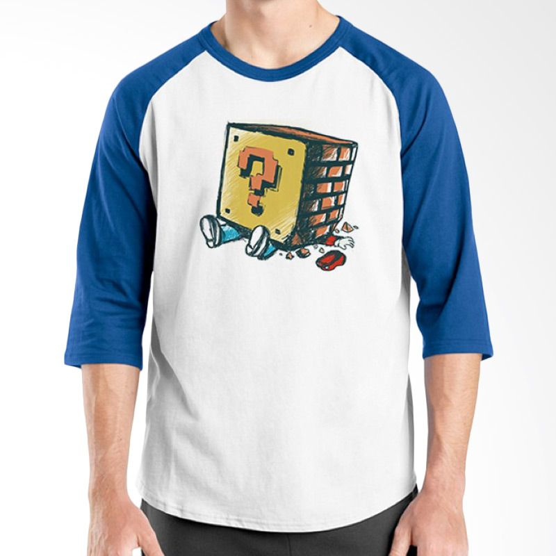 Ordinal Raglan Mario Artworks 08 Putih Biru Kaos Pria