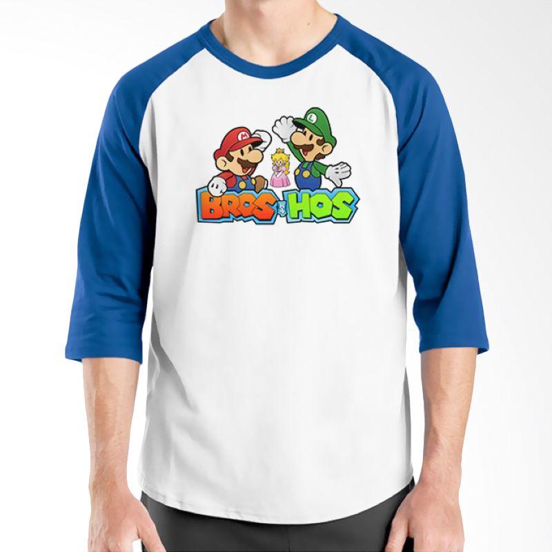 Ordinal Raglan Mario Artworks 10 Putih Biru Kaos Pria