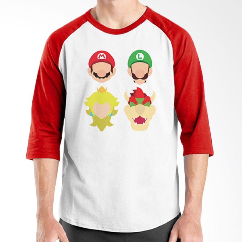 Ordinal Raglan Mario Artworks 11 Putih Merah Kaos Pria