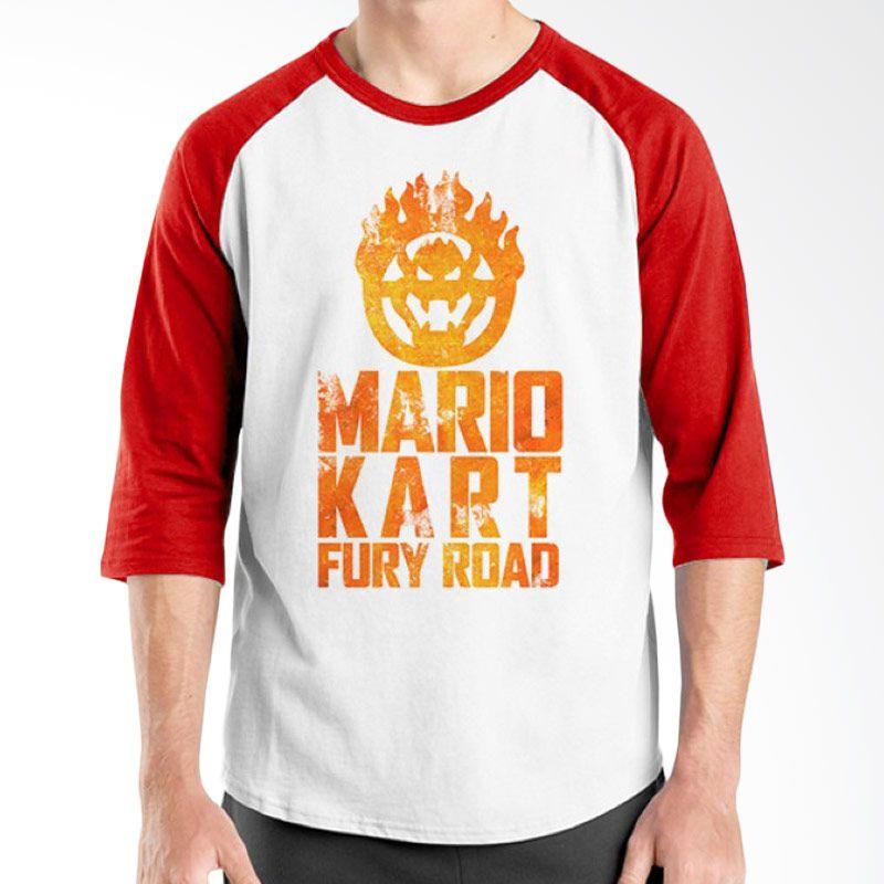 Ordinal Raglan Mario Artworks 20 Putih Merah Kaos Pria