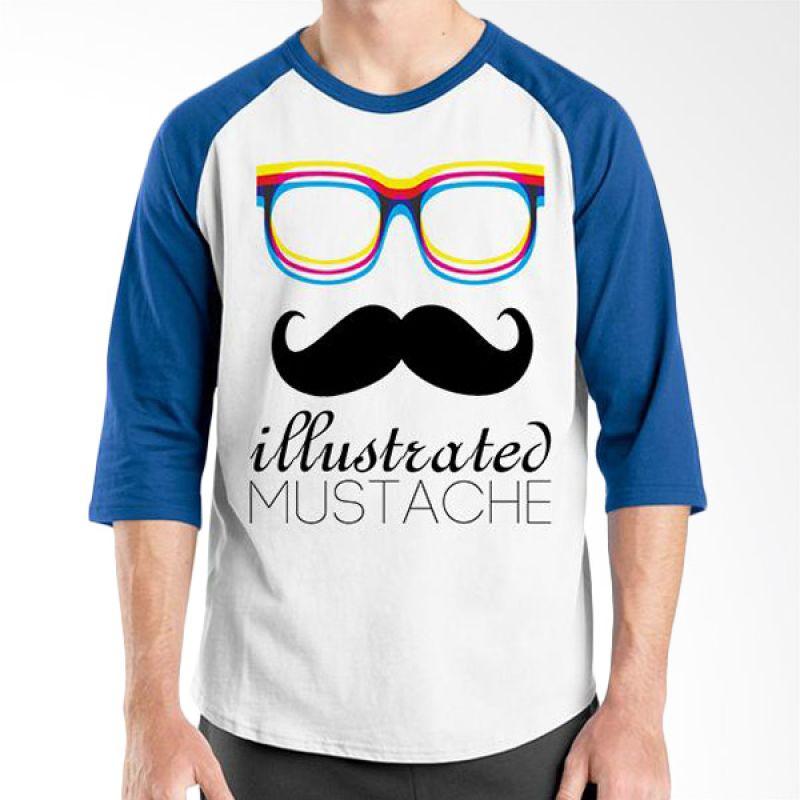 Ordinal Raglan Mustache Series 04 Biru Putih Kaos Pria