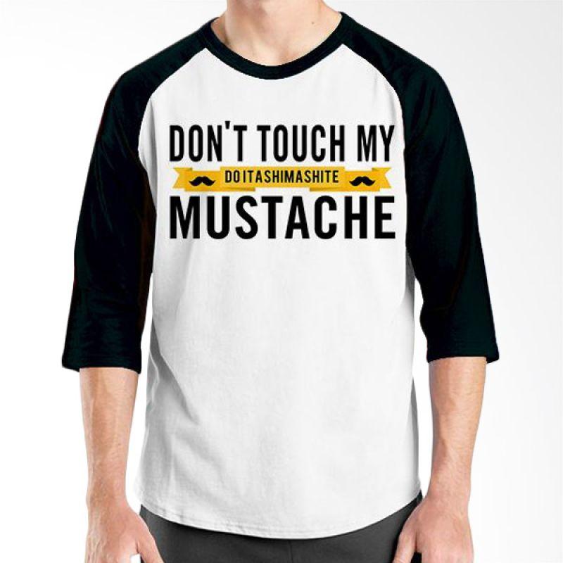 Ordinal Raglan Mustache Series 05 Hitam Putih Kaos Pria