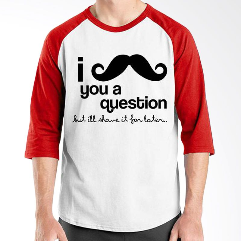 Ordinal Raglan Mustache Series 06 Merah Putih Kaos Pria