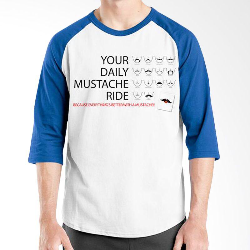 Ordinal Raglan Mustache Series 07 Biru Putih Kaos Pria