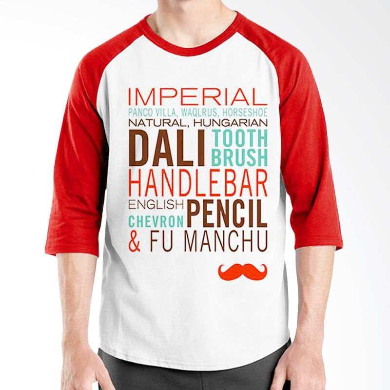 Ordinal Raglan Mustache Series 09 Merah Putih Kaos Pria