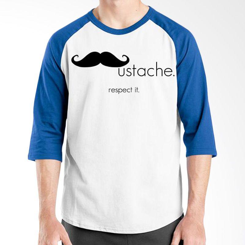 Ordinal Raglan Mustache Series 12 Biru Putih Kaos Pria
