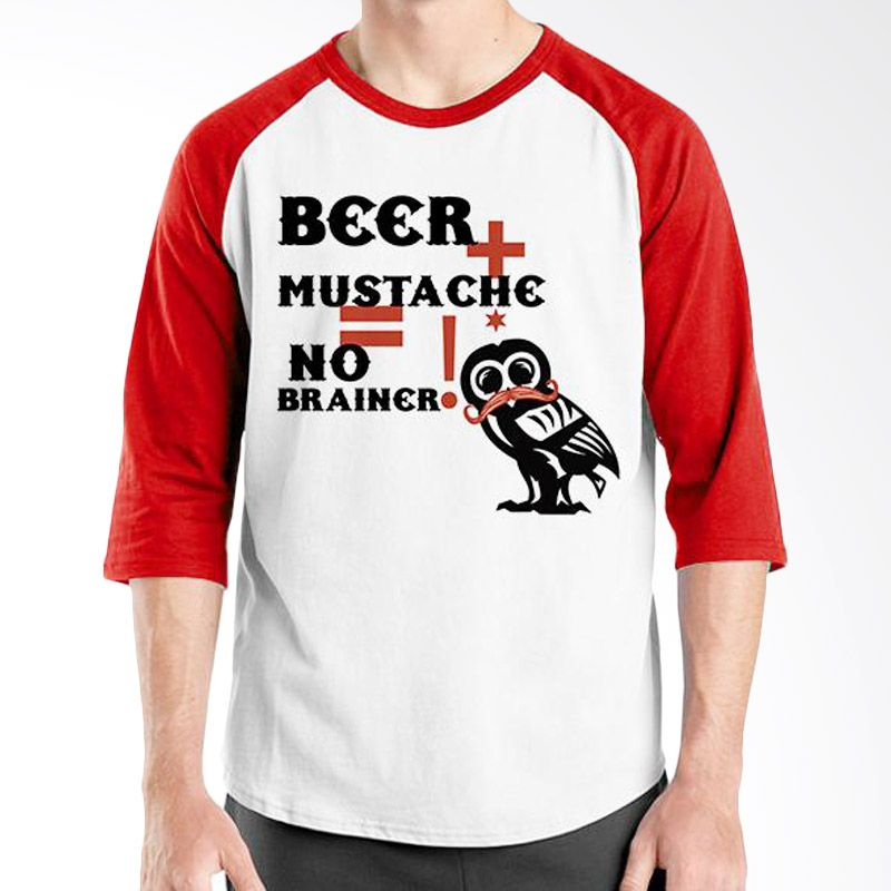 Ordinal Raglan Mustache Series 13 Merah Putih Kaos Pria