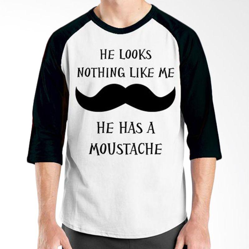 Ordinal Raglan Mustache Series 19 Hitam Putih Kaos Pria