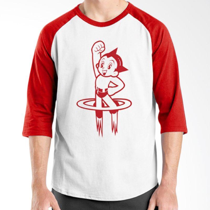 Ordinal Raglan NBA Logo Parody 06 Putih Merah Kaos Pria