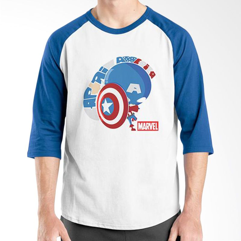Ordinal Raglan New Captain America 11 Putih Biru Kaos Pria