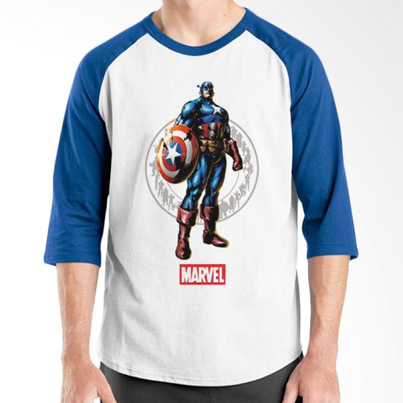 Ordinal Raglan New Captain America 12 Putih Biru Kaos Pria