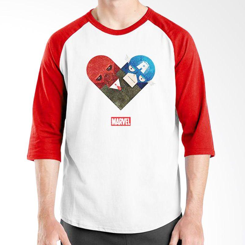Ordinal Raglan New Captain America 13 Putih Merah Kaos Pria