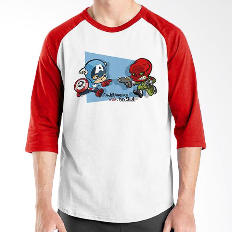 Ordinal Raglan New Captain America 15 Putih Merah Kaos Pria