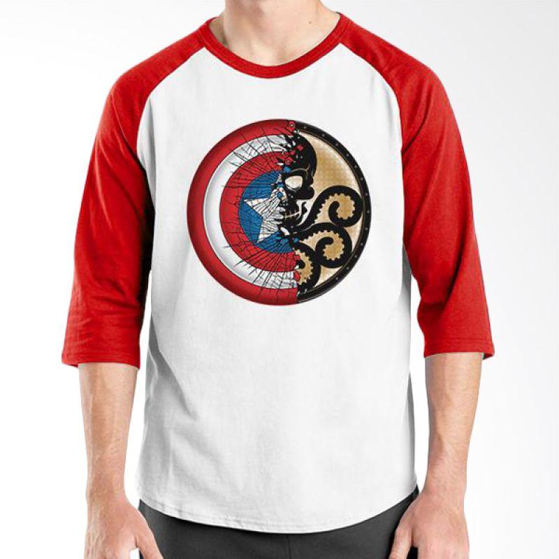 Ordinal Raglan New Captain America Logo 01 Putih Merah Kaos Pria