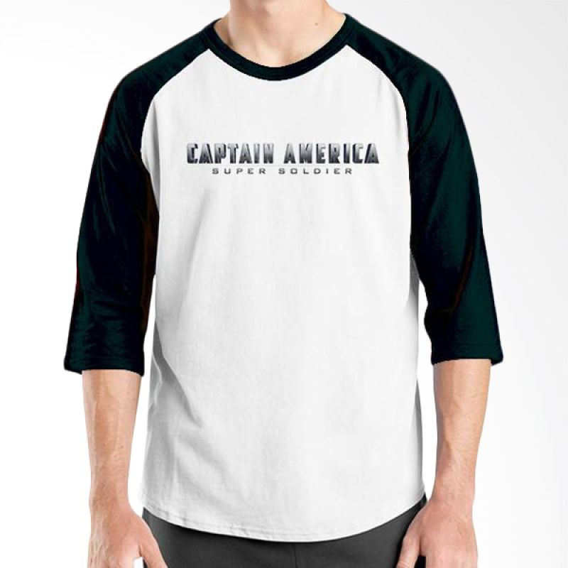 Ordinal Raglan New Captain America Logo 02 Putih Hitam Kaos Pria