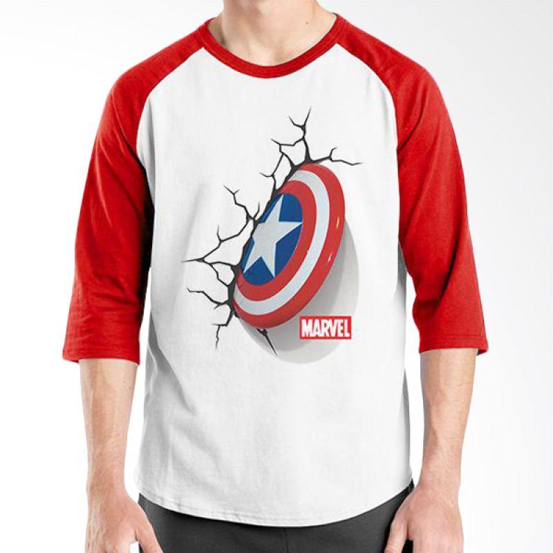 Ordinal Raglan New Captain America Logo 05 Putih Merah Kaos Pria