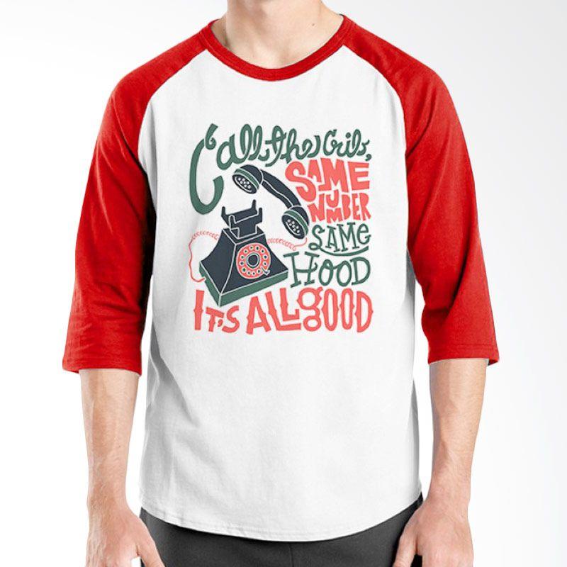 Ordinal Raglan Old School 15 Merah Putih Kaos Pria
