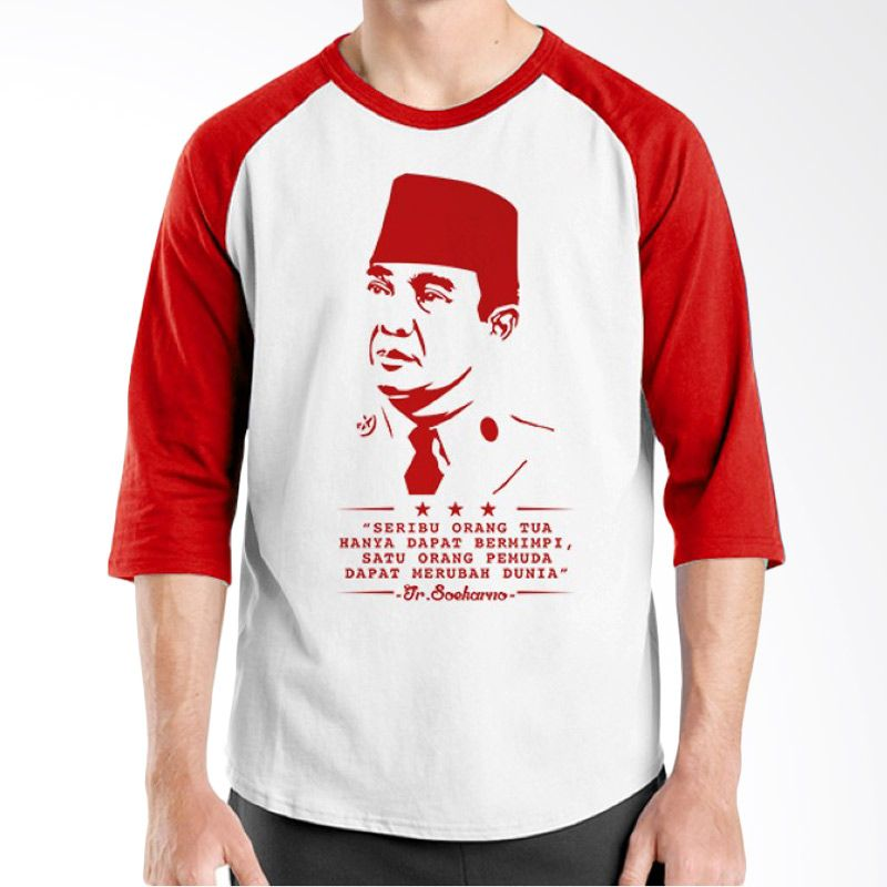 Ordinal Raglan One Indonesia 04 Putih Merah Kaos Pria