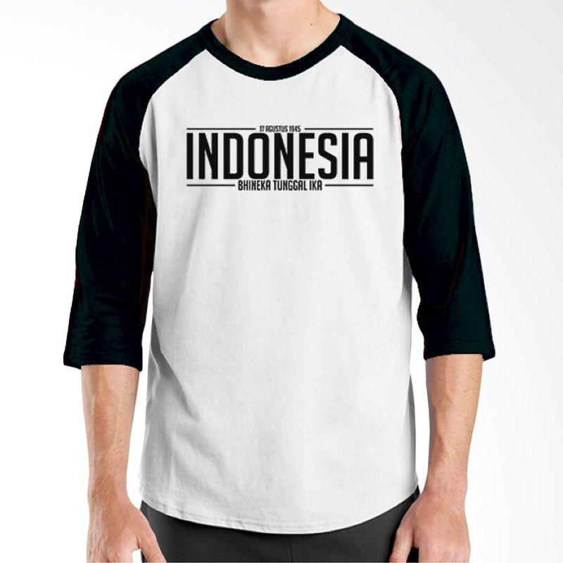 Ordinal Raglan One Indonesia 05 Putih Hitam Kaos Pria