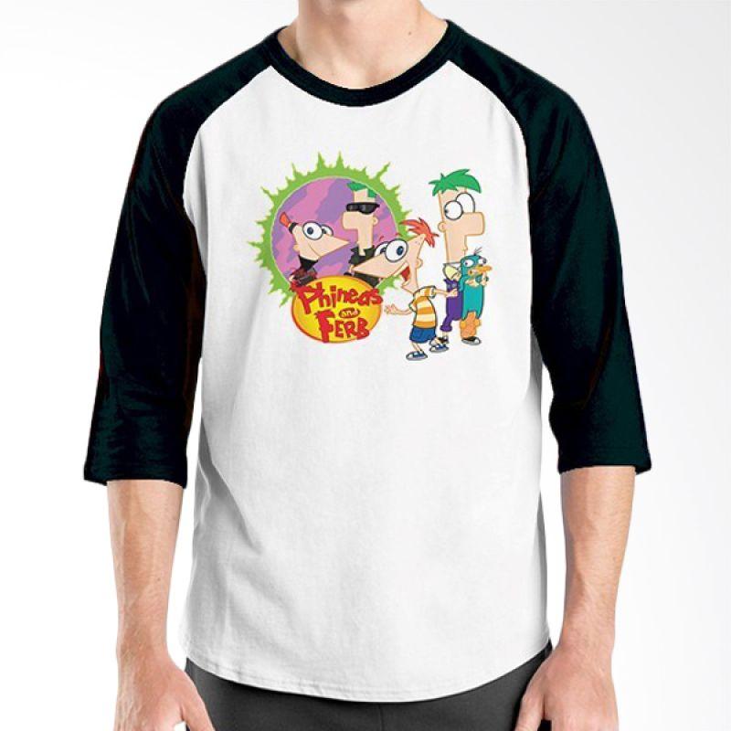 Ordinal Raglan Phineas and Ferb Hitam Putih Kaos Pria