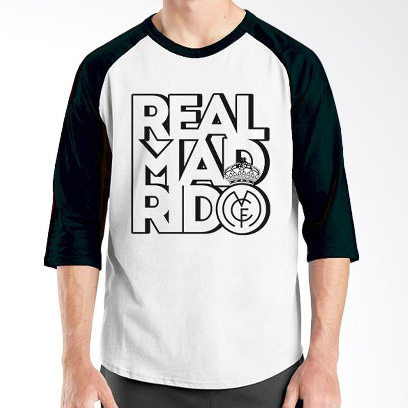 Ordinal Raglan Real Madrid 01 Hitam Putih Kaos Pria