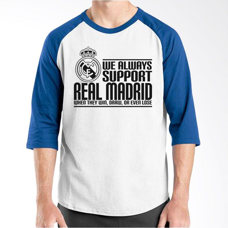 Ordinal Raglan Real Madrid 03 Biru Putih Kaos Pria