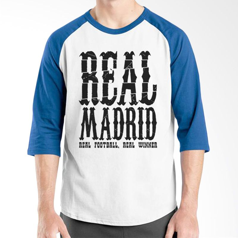 Ordinal Raglan Real Madrid 05 Biru Putih Kaos Pria