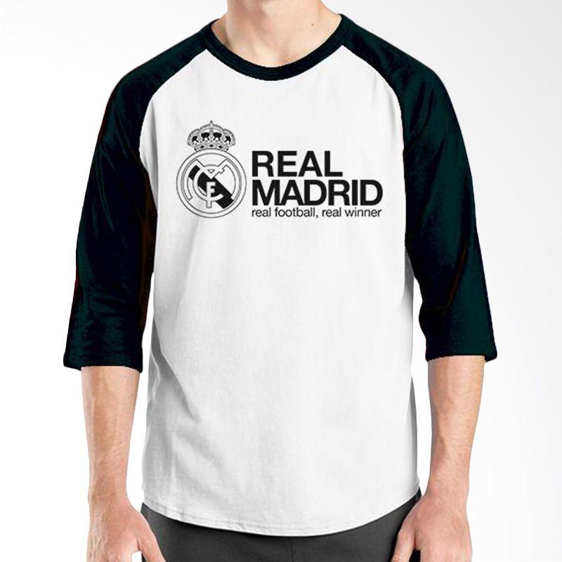 Ordinal Raglan Real Madrid 06 Hitam Putih Kaos Pria