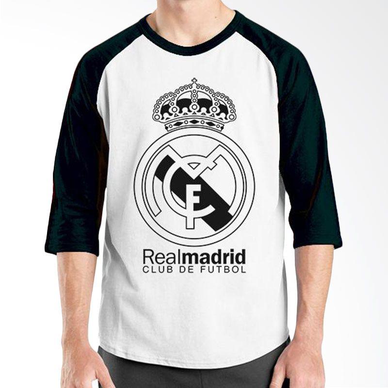 Ordinal Raglan Real Madrid 07 Hitam Putih Kaos Pria