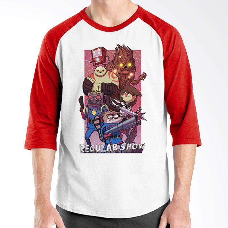 Ordinal Raglan Regular Show 08 Merah Putih Kaos Pria