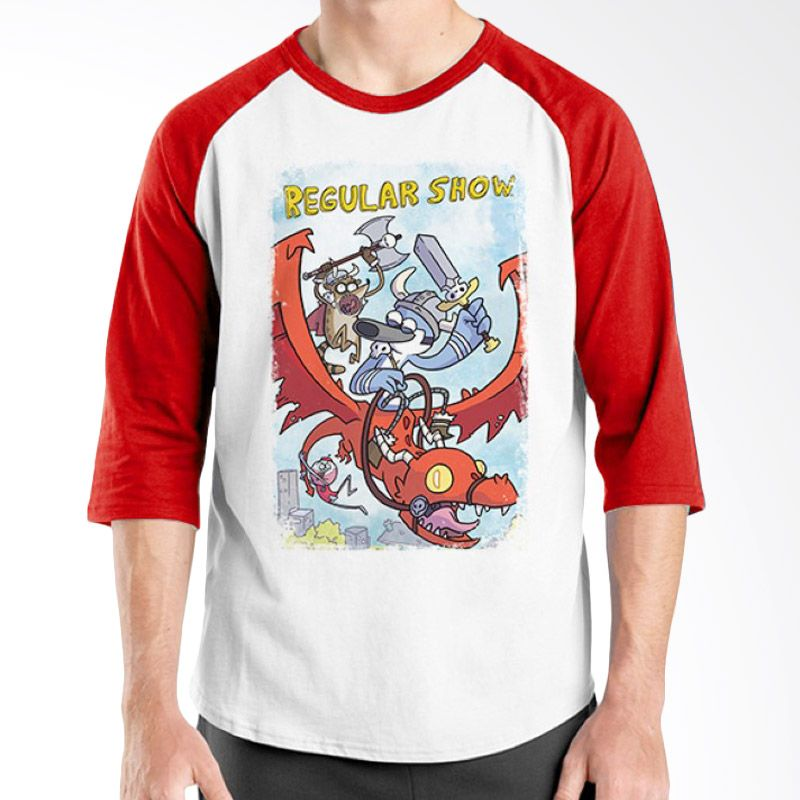 Ordinal Raglan Regular Show 11 Merah Putih Kaos Pria