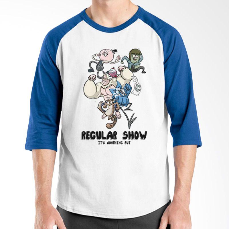 Ordinal Raglan Regular Show 13 Biru Putih Kaos Pria