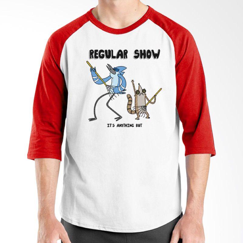 Ordinal Raglan Regular Show 15 Merah Putih Kaos Pria