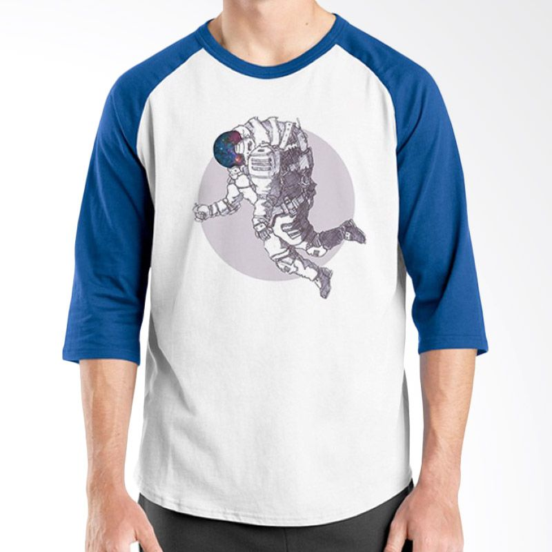 Ordinal Raglan Space 02 Putih Biru Kaos Pria