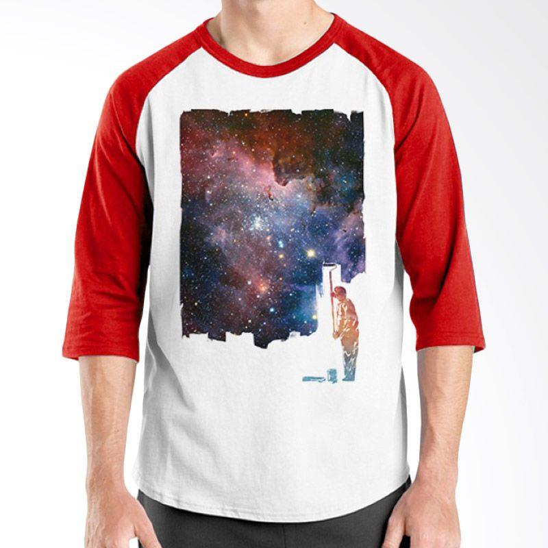 Ordinal Raglan Space 03 Putih Merah Kaos Pria