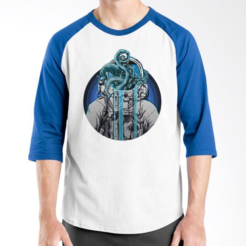 Ordinal Raglan Space 04 Putih Biru Kaos Pria