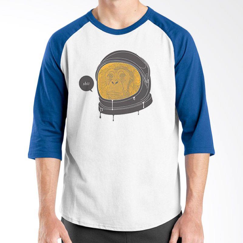 Ordinal Raglan Space 08 Putih Biru Kaos Pria