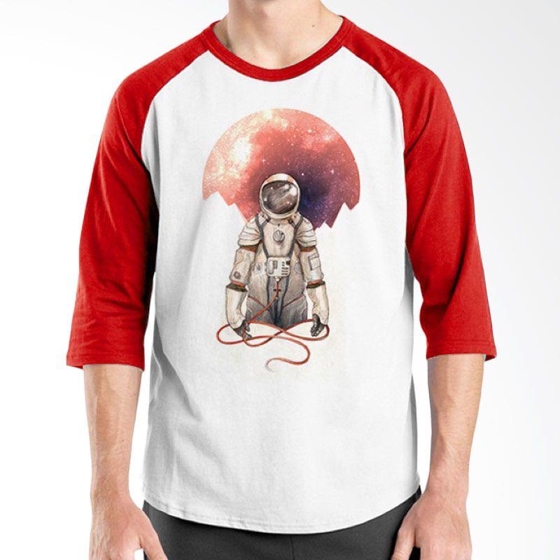 Ordinal Raglan Space 10 Putih Merah Kaos Pria