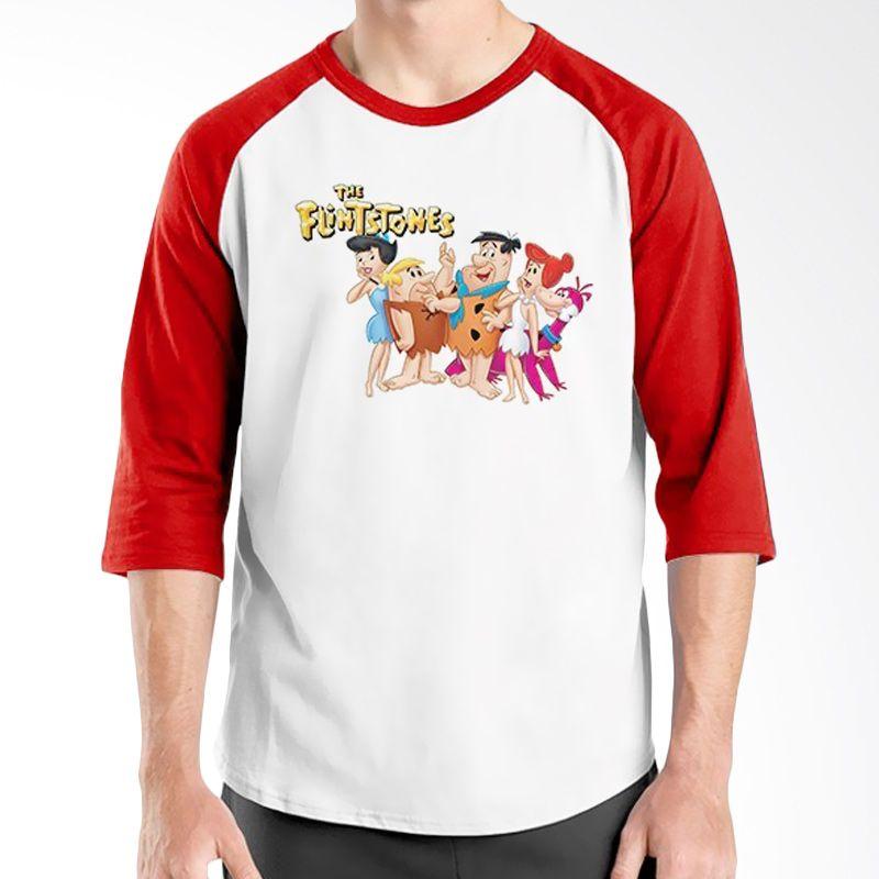 Ordinal Raglan The Flintstones Merah Putih Kaos Pria