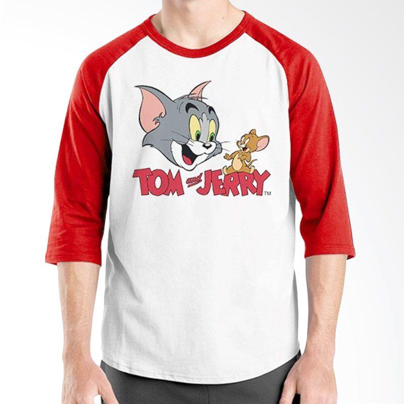 Ordinal Raglan Tom and Jerry Merah Putih Kaos Pria