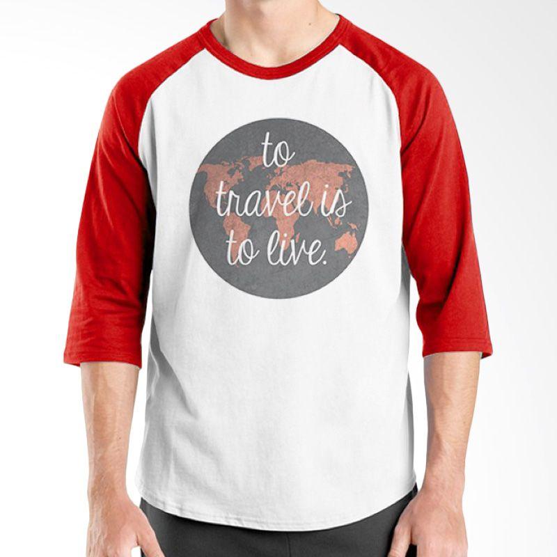 Ordinal Raglan Travel Quotes 01 Putih Merah Kaos Pria