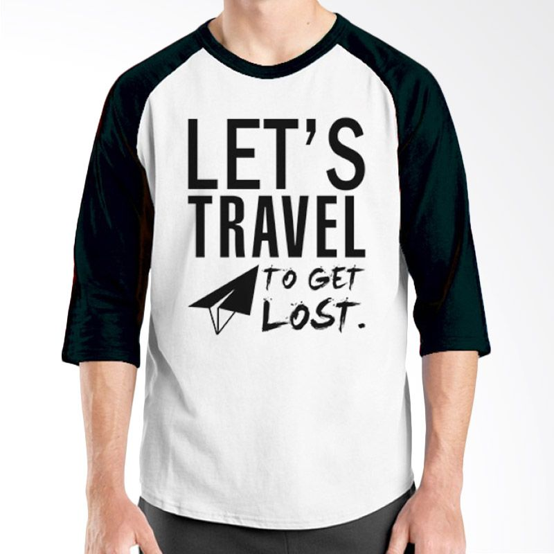 Ordinal Raglan Travel Quotes 07 Putih Hitam Kaos Pria