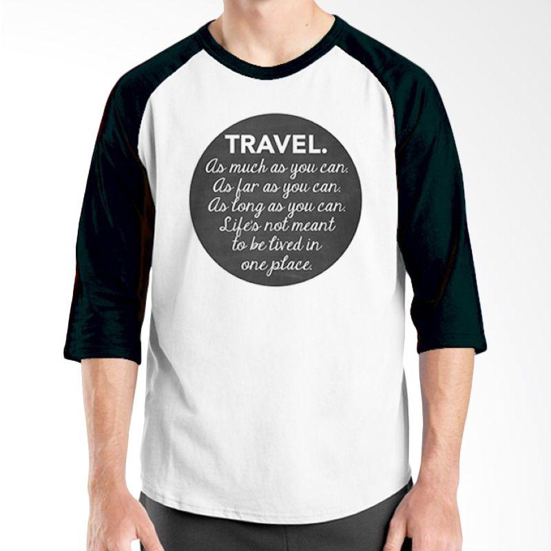 Ordinal Raglan Travel Quotes 10 Putih Hitam Kaos Pria