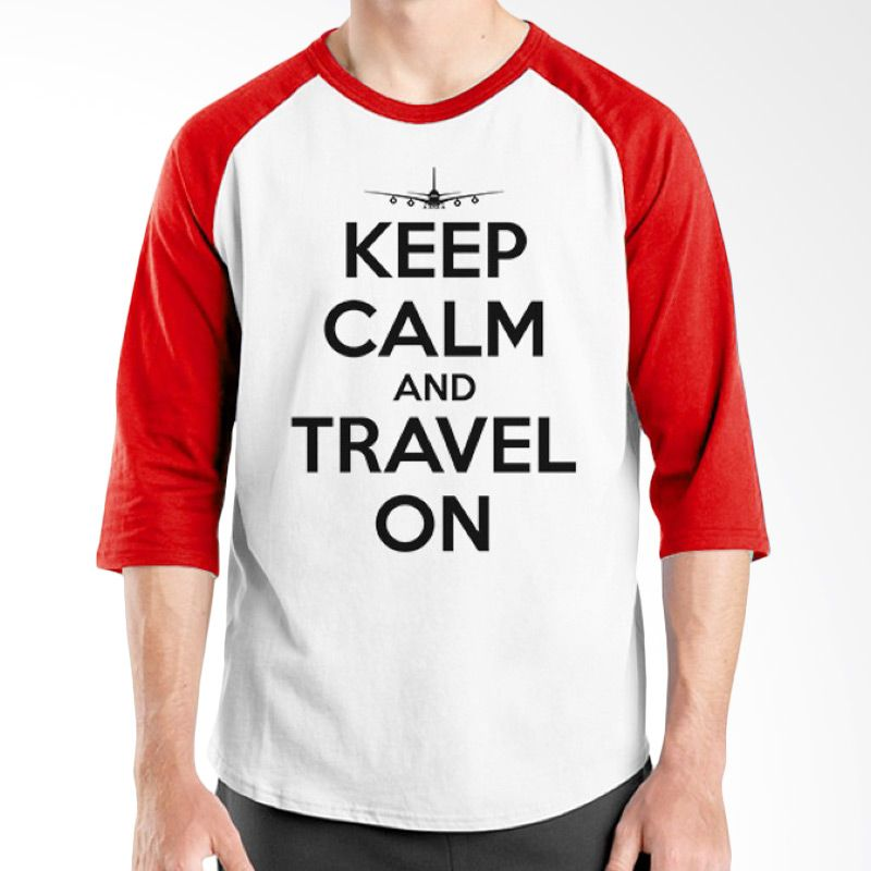 Ordinal Raglan Travel Quotes 13 Putih Merah Kaos Pria